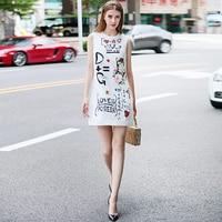 High Quality Short Dress Designer Runway 2017 Autumn Women New Fashion Party Office Retro Cat Print