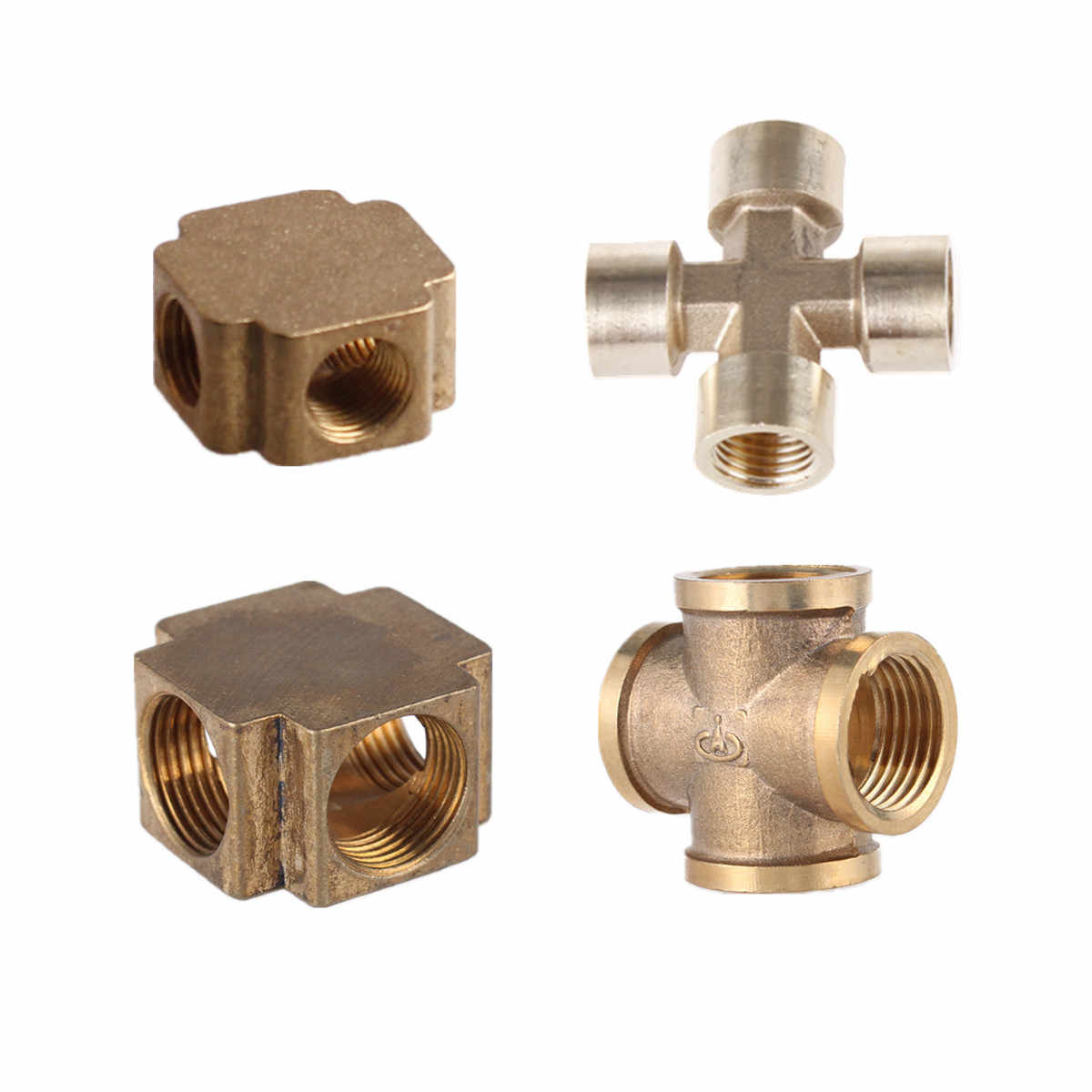 "Cross 4 Way 1/8"" 1/4"" 3/8"" 1/2"" BSP Female Thread Brass Pipe Fitting Copper Barbed Connector Coupler Adapter Coupling Air Water"