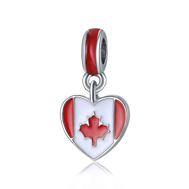 2017 DIY European Beads Canada Flag Pendant Charms Fit Original Bracelets Heart Shape Charms Oil Plated Beads  Jewelry Findings