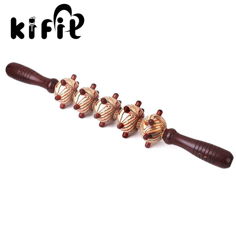KIFIT Wood Roller Stick Body Trigger Point Massage Stick Leg Massager Gym Muscle Relief Tool for Full Body Arm Leg Back elite fitness massager roller stick trigger point muscle roller exercise therapy releasing tight body massage tool gym rolling