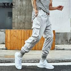 2019 Беговые брюки в повседневном стиле мужские брюки-карго эластичный пояс Поддельные молнии свободный крой спортивные штаны Harajuku