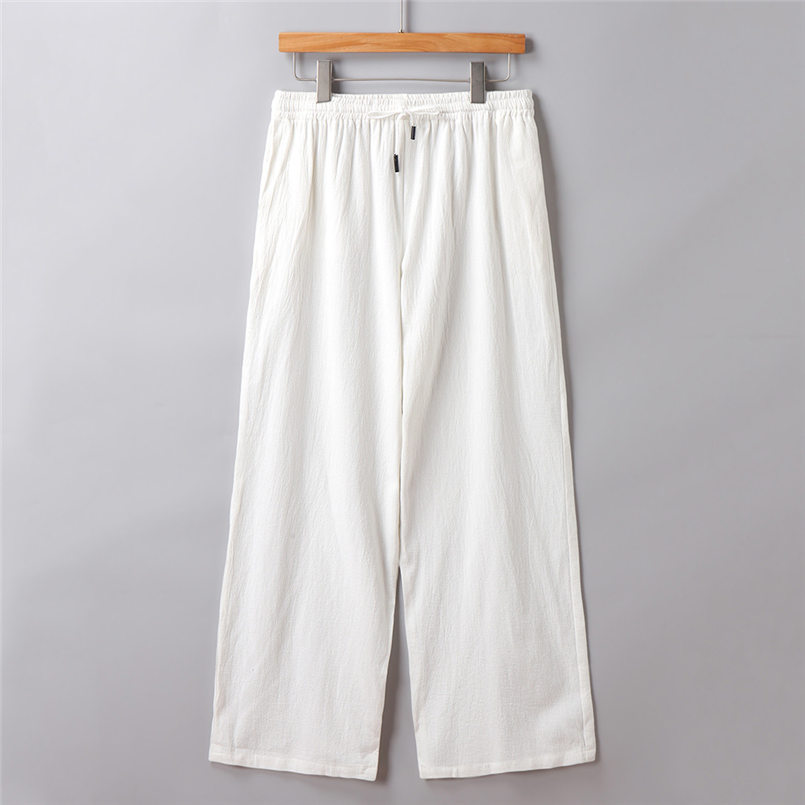 New Men Summer Fashion Trousers Linen Style Loose Casual Breathable Outdoor Solid Pants Sportswear Casual Straight Pants #4R06 (3)