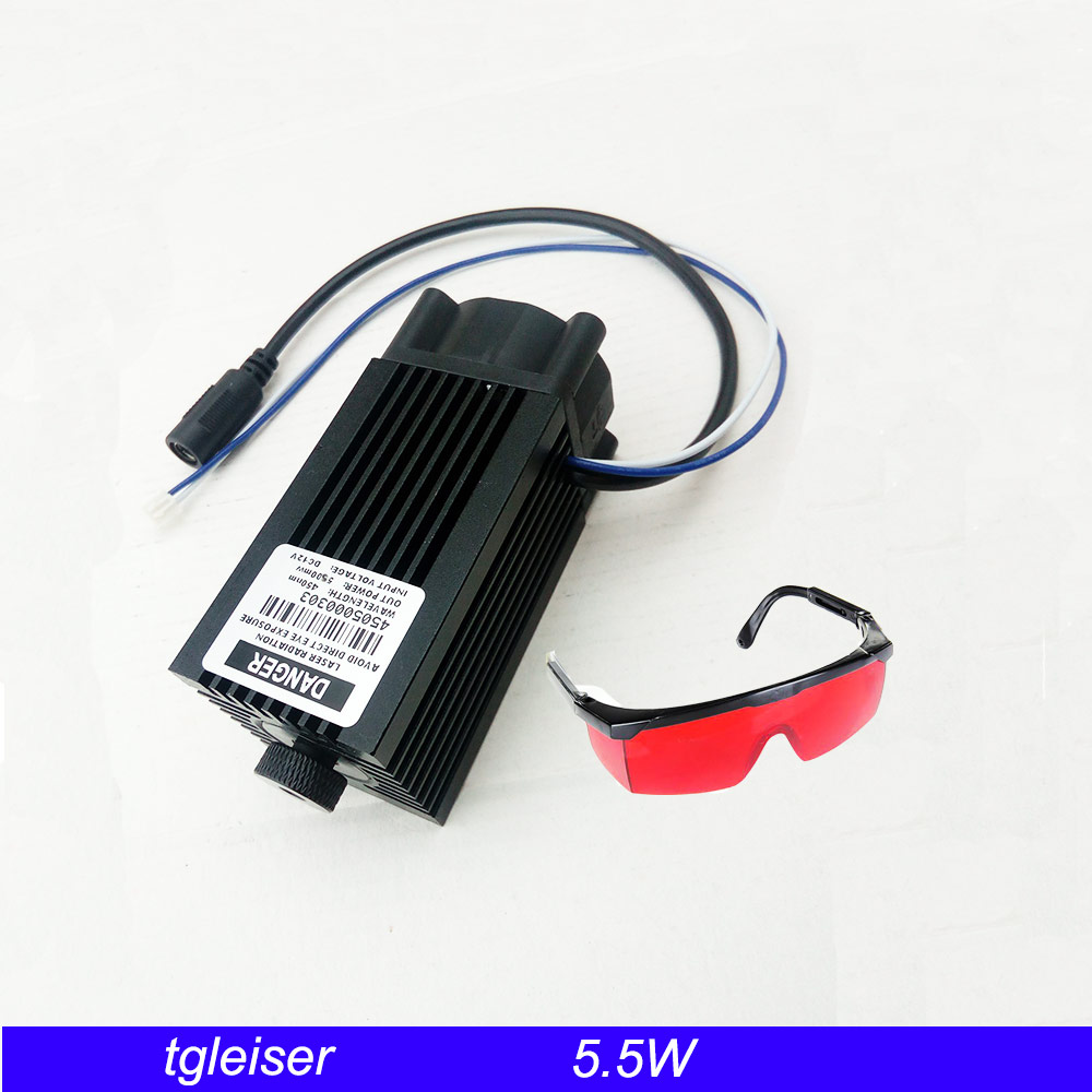 55w 450nm Blue Laser Module Engraving Machine parts Cutting cnc laser TTL module 5500mw Laser Head