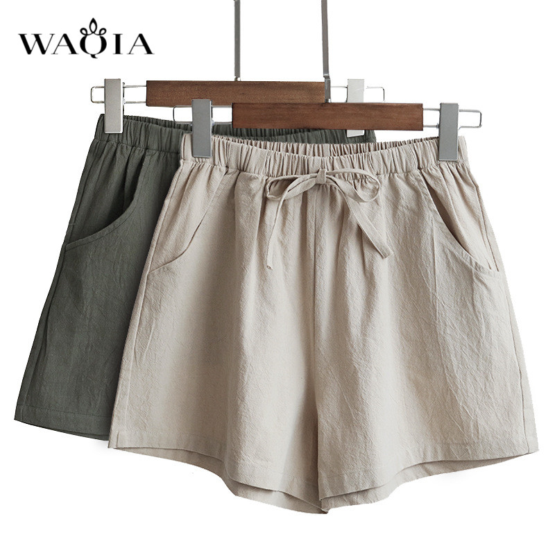 WAQIA Spring Summer Casual Solid Cotton and Linen   Shorts   Women Wide High Waist Loose Leg   Shorts   All-Match Sporting   Shorts   Female