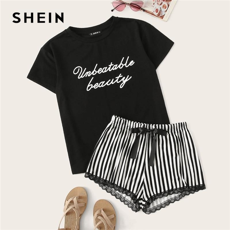 SHEIN Black Letter Print Top And Lace Trim Striped Shorts PJ Set Summer Pajamas Women Casual Sleepwear Nightwear Pajama Sets