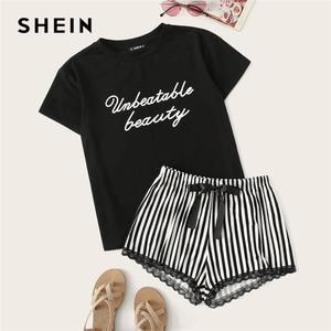 Image 1 - SHEIN 黒文字印刷トップとレーストリムストライプショーツ PJ セット夏パジャマ女性カジュアルパジャマナイトウェアパジャマセット