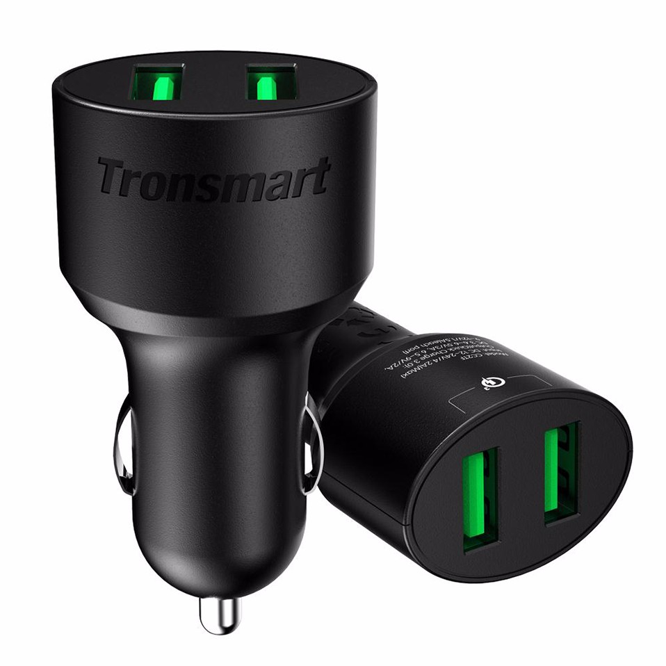 [One Year Warranty] Tronsmart CC2TF Car Charger Quick Charge 3.0 Two Ports USB Car-Charger for Xiaomi Mi5 for LG G5 in Stock (2)