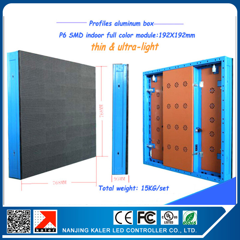 TEEHO 1pcs p6 cabinet 192*19dots 768x768mm profile aluminum box indoor SMD full color leasing display cabinet indoor video wall