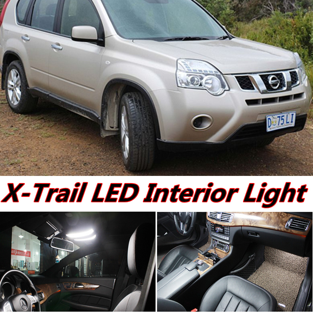 6pcs X free shipping Error Free LED Interior Light Kit Package for nissan X-Trail T31 accessories 2007-2013