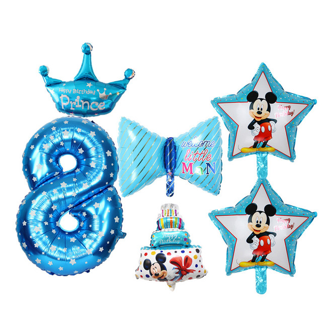 6pcs Set Blue Pink Happy Birthday Balloons For Kids Boy Girl 8 Years Old