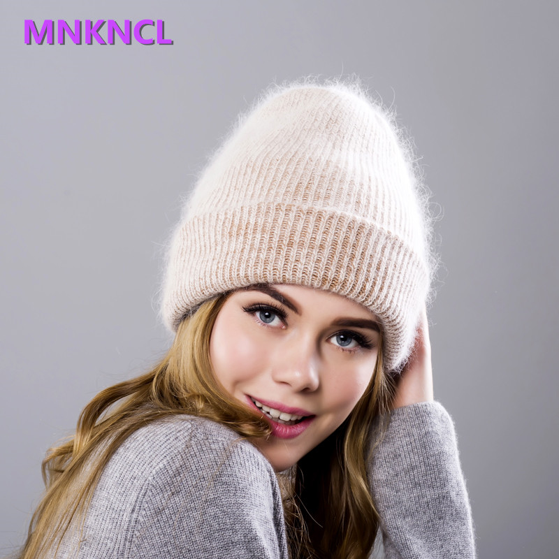 2017 New Rabbit Fur Knitted Hat Cap Women Winter Warm Wool Beanie Hat Outdoor Sport Skullies Beanies Gorro knitted skullies cap the new winter all match thickened wool hat knitted cap children cap mz081