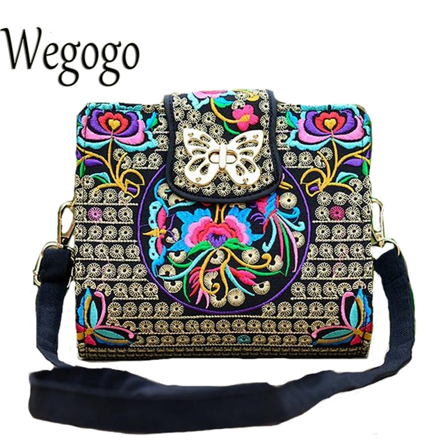 Women Sling Bag Ethnic Vintage Embroidered Canvas Cover Shoulder Messenger Bags 1