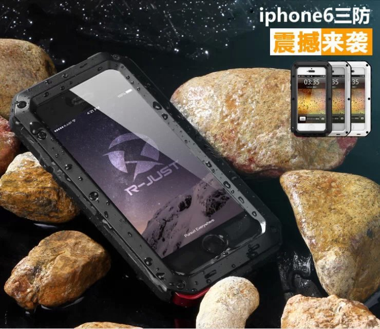 Aluminum Wasserdichter Shockproof Handy Abdeckung Fall Für iPhone se 5 5 s 6 7 8 Plus x Gorilla Gehärtetes Glas Handys tasche