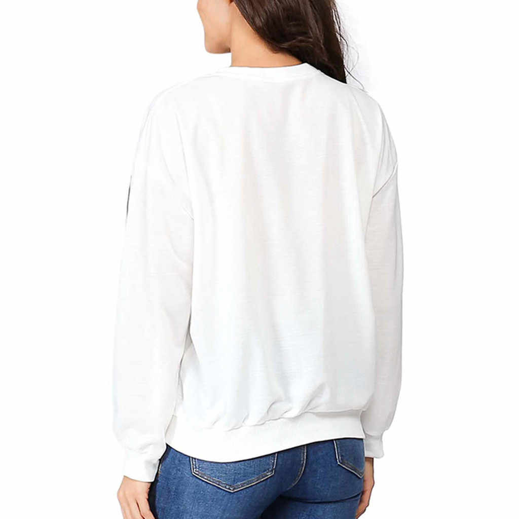 Large women reindeer print white capless shirt exercise fitness running training sports loose sweater long-sleeved shirt jacket