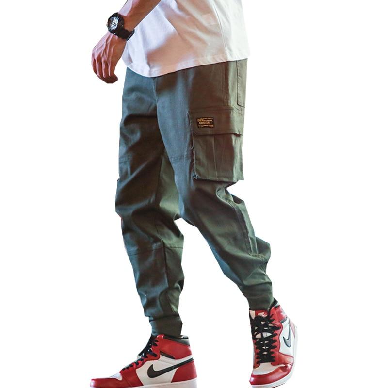 Newest Spring Men Cargo Pants Multi-pocket Elastic Waist Harem Pant Hip Hop Casual Trousers Joggers Male Drop Shipping ABZ159