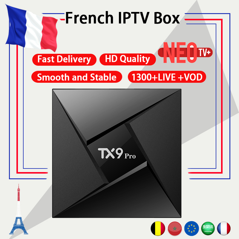 French IPTV TX9 PRO Android tv box 7.1 NEO +1 year IPTV Subscription Arabic France Belgium morocco VOD m3u IP TV smart TV Box french iptv box android tv box with 1year 1300 arabic france iptv belgium code live tv