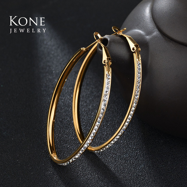 2017 Bohe Trendy Gold Oval Plated Stainless Steel Crystal Stone Hoop Earrings For Women Wedding Party