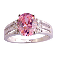 Wholesale Romantic Love Style Jewelry Pink & White Sapphire 925 Silver Ring Size 6 7 8 9 10 Women Bridal Wedding Free Shipping