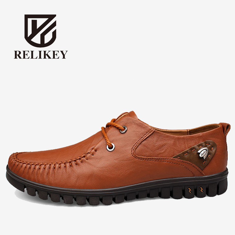 Men Loafers RELIKEY Brand Lace-up Driving Shoes Handmade Cow Leather Autumn Soft Big Size Flats Shoes for Men relikey brand men casual handmade shoes cow suede male oxfords spring high quality genuine leather flats classics dress shoes