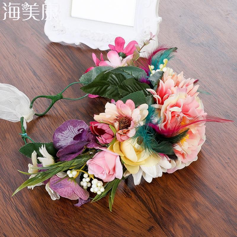 Haimeikang Bridal Headwear For Women Feather Flower Wreath Headband Big Floral Hair Band Wedding Party Crown Hair Accessories