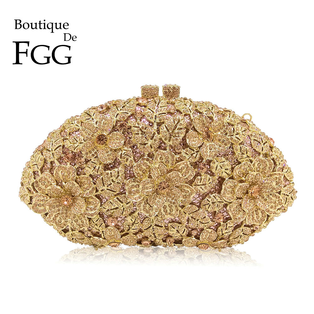 Boutique De FGG Dazzling Champagne Flower Crystal Clutch Evening Purse Bag Women Formal Dinner Handbag Wedding