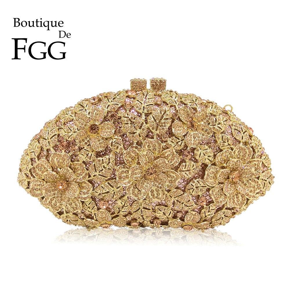 Boutique De FGG éblouissante Champagne fleur cristal embrayage sac à main De soirée femmes dîner formel sac à main De mariage sac à main De mariée