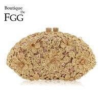 Boutique De FGG ослепительно Шампанское цветок Кристалл Вечерний клатч сумка для женщин Формальные Сумочка для ужина Свадебные кошелек