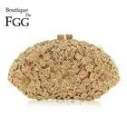 Boutique De FGG deslumbrante Champagne flor cristal embrague noche bolso mujer Formal cena bolso Boda nupcial monedero