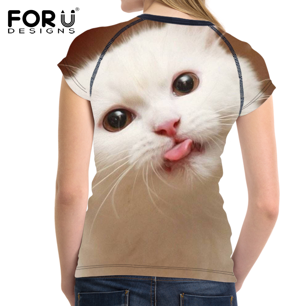 FORUDESIGNS 3D Cute Cat Printing T shirt Women Tops Tees Womens Funny t shirt Casual TShirt O Neck Ladies T Shirts Feminism Plus in T Shirts from Women 39 s Clothing