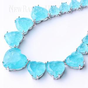 Image 5 - Newranos Hart Kristal Ketting Blauw Natuurlijke Fusion Stone Choker Ketting Voor Vrouwen Mode sieraden NFX0013124