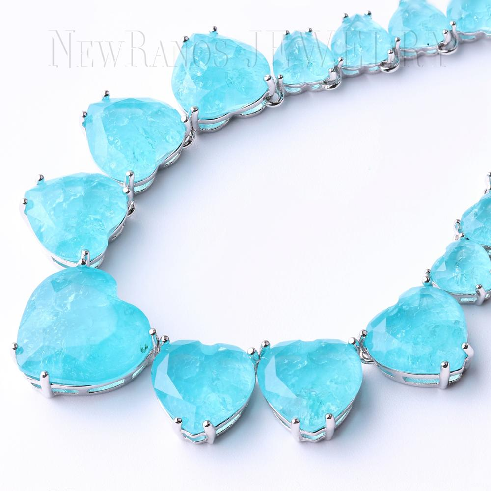 Image 5 - Newranos Heart Crystal Necklace Blue Natural Fusion Stone Choker  Necklace for Women Fashion Jewelry NFX0013124Choker Necklaces   -