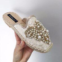1d8736759 Mulheres pérola malha pescador chinelos beading verão mulas sapatos chinelos  senhoras alpercatas mulher bordar ouro cravejado
