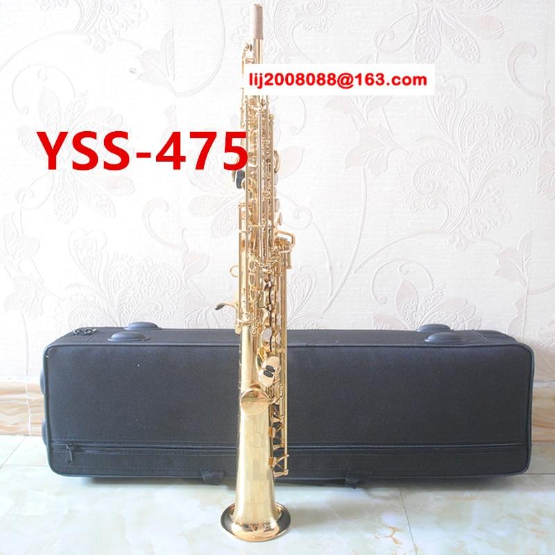 Japan Soprano Saxophone YSS-475 B flat Electrophoresis Gold Top Musical Instruments Sax Soprano professional grade soprano saxophone bb wind instrument sax western instruments black saxofone saxofon soprano musical instruments black saxofon