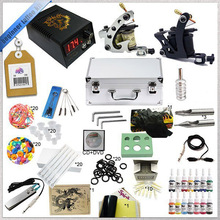 Beginner Complete Tattoo Machine Kit  Ink Sets Digital LCD Power Supply Needles Mini Tattoo Kit