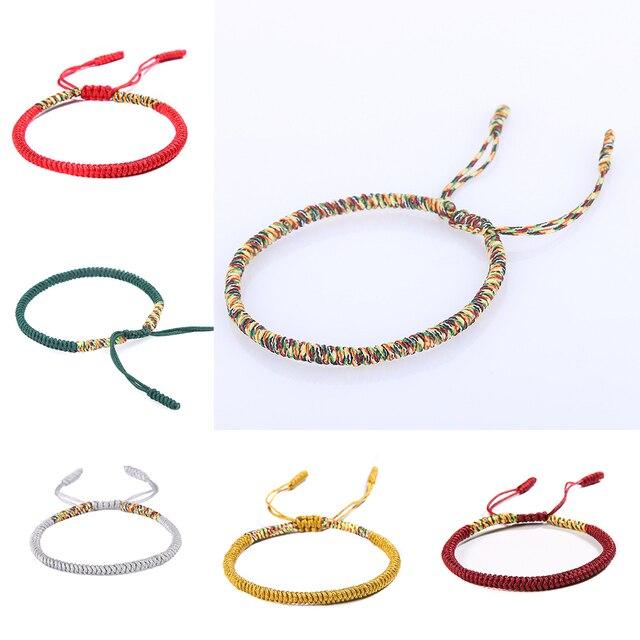 01871ed882029 National Handmade Tibetan Buddhist Braided Bracelet Lucky Knot Red Rope  Bracelet For Men Women Multi Color Gift Party