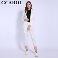 GCAROL Euro Style Black Striped Women's sets Blazer Ankle Length Pants Two Pieces Outfits Casual Tops Elastic Waist Pants