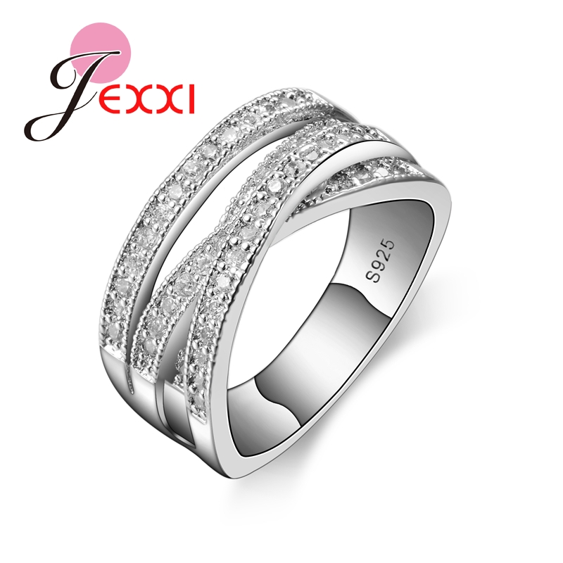 Fashion 925 Sterling Silver Cross CZ Crystal Wedding Statement Ring For Women
