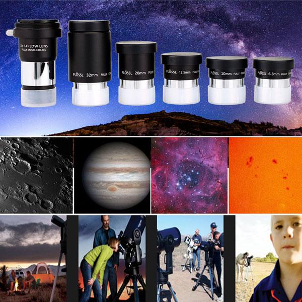 1.25 Eyepiece Set PLOSSL Fully HD Coated 5 Eyepiece +2X Barlow Lens (8)