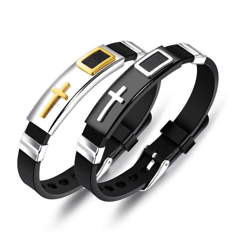 Kształt paska bransoletki ze stali nierdzewnej i bransolety moda krzyż projekt Charm nadgarstek prezent akcesoria biżuteryjne (BA102273)