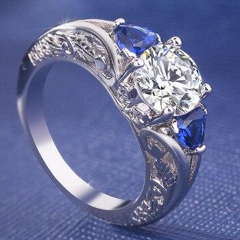 2019 Sliver S925 Sapphire Rings Set Fashion Anillos De Diamond Bizuteria Gemstone for Women Wedding Diamante Jewelry Ring Female 3