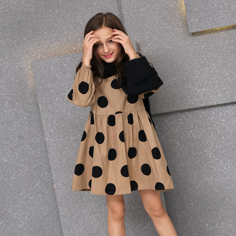 Teenage Girls Autumn Dress Cotton Dots Loose Princess Dresses Fashion Girl Children Long-sleeved Dress 10 12 14 16 Girl Clothing qiu dong children dress long sleeved cinderella princess dress love sally dresses of the girls