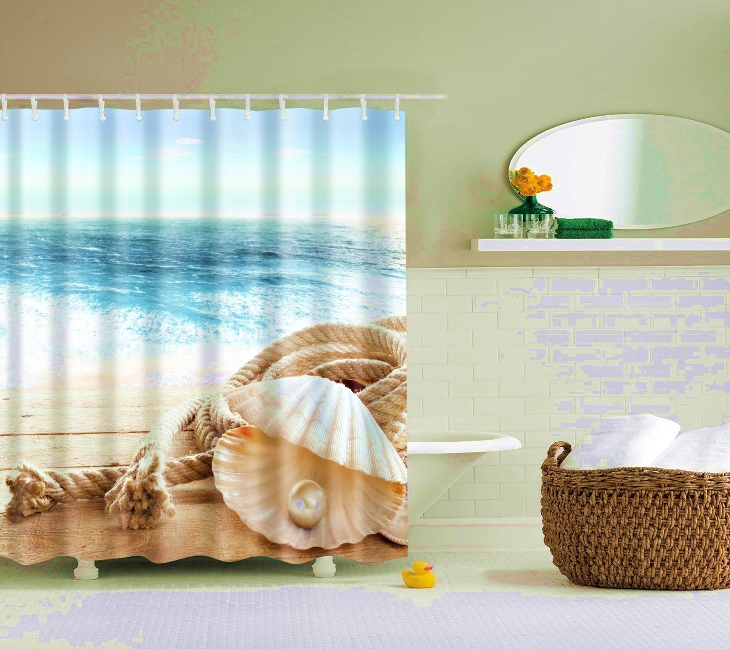 Us 11 1 5 Off Abxinyoule Pearl Shell Shower Curtain Waterproof Fabric With Hook Bathroom Decor Accessory In Shower Curtains From Home Garden On