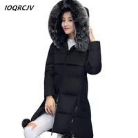 S~6XL women winter coat padded jacket warm down cotton parkas slim long coat fur collar hooded women wadded jaqueta feminina S17