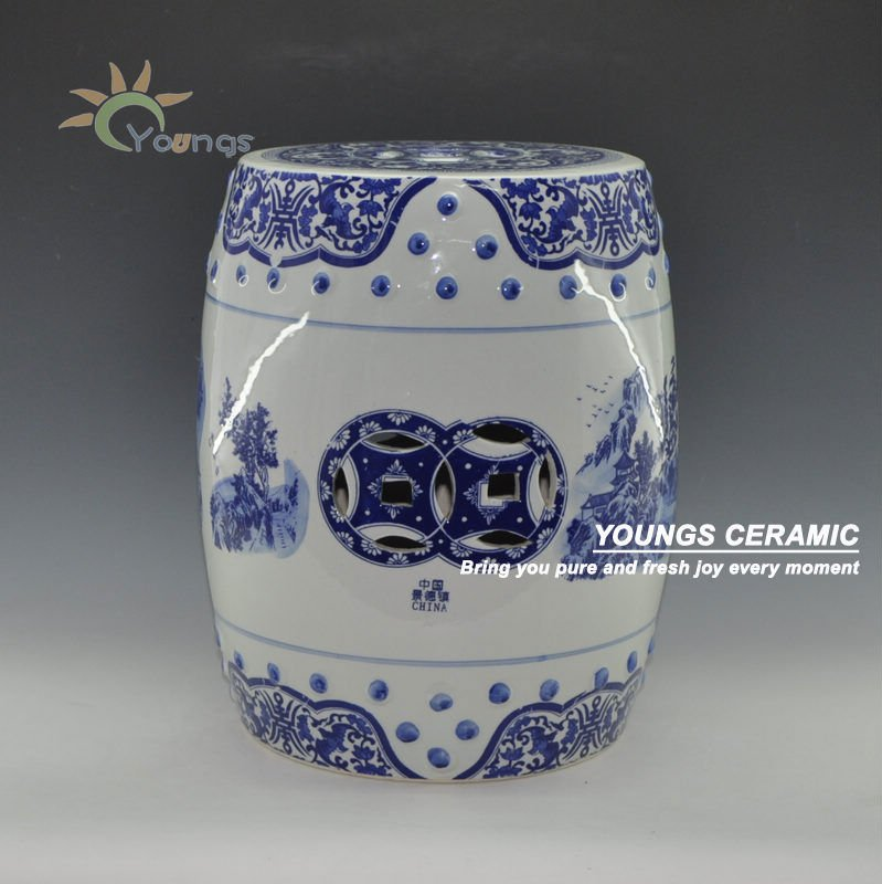 "Blue and White Porcelain Landscape Pattern Garden Drum Stool With Nail 14"" Made in Jingdezhen"