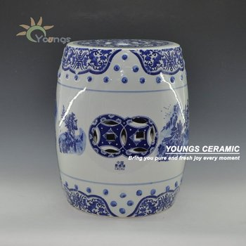 Blue and White Porcelain Landscape Pattern Garden Drum Stool With Nail 14'' Made in Jingdezhen