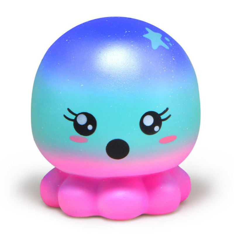 Jumbo Colorful Galaxy Octopus Squishy Cute Squeeze Toys Slow Rising Smooth Sweet Scented Stress Relief Fun For Kid Xmas Gift