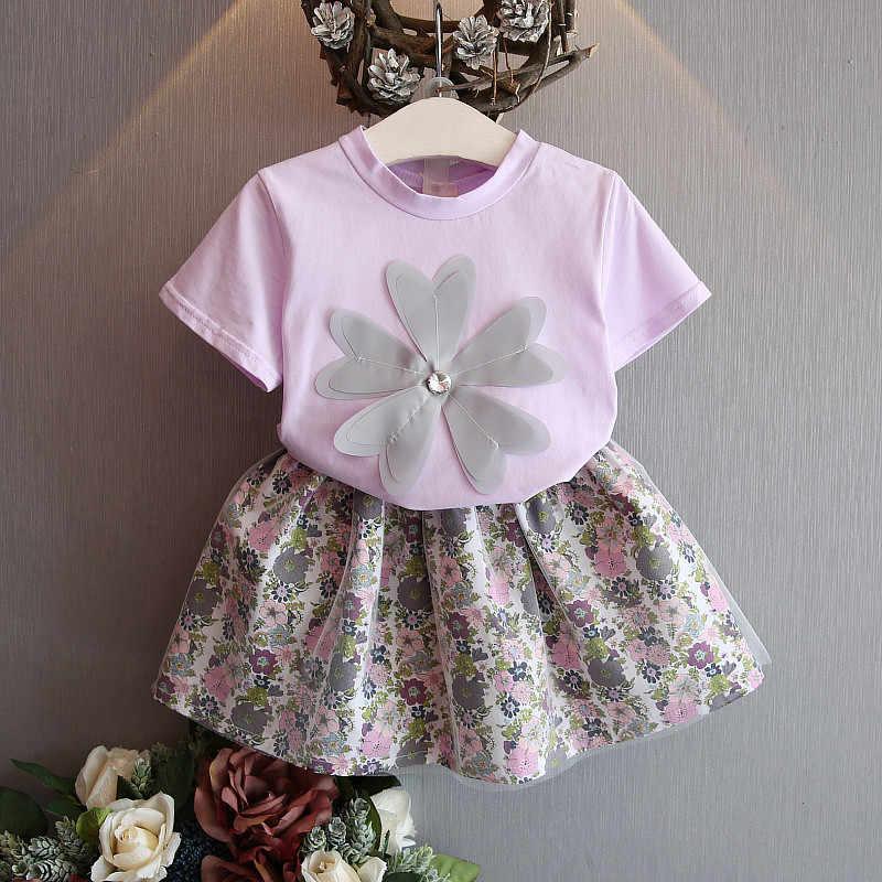 Dziewczyna odzież zestaw ubrania dla dzieci garnitur dzieci drukuj O-neck T-shirt krótka spódniczka dla dzieci moda dla dzieci berbeć dziewczyny lato odzież zestaw