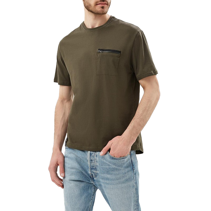 T-Shirts MODIS M181M00214 t shirt shirt cotton for male TmallFS zigzag single pocket t shirt