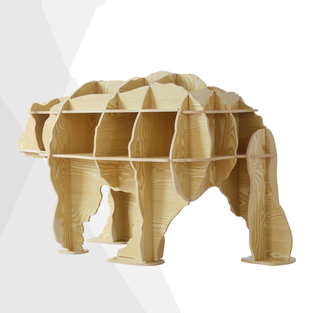 Free shipping 100% wood wooden Scandinavian style home decoration DIY polar bear DIY furniture side table hotel restaurant decor