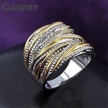 все цены на Canner Hip Hop Stainless Steel Big Ring Gold Silver Color Punk Rhinestone Ring For Men Geometric Striped Wedding Band Ring A40 онлайн